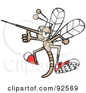 Royalty Free RF Clipart Illustration Of A Mosquito Holding A Thumb Up