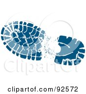 Royalty Free RF Clipart Illustration Of A Blue Hikers Boot Track