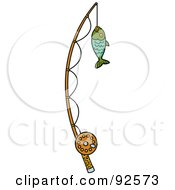 Royalty Free RF Clipart Illustration Of A Fish Caught On A Fishing Pole