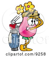 Clipart Picture Of A Vase Of Flowers Mascot Cartoon Character Swinging His Golf Club While Golfing