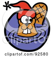 Royalty Free RF Clipart Illustration Of A Wading Beaver Wearing A Red Hat by Andy Nortnik