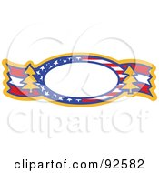 Patriotic Oval Text Box With Stars Stripes And Trees