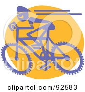 Royalty Free RF Clipart Illustration Of A Blue Cyclist On A Mountain Bike by Andy Nortnik