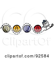 Royalty Free RF Clipart Illustration Of A Snowboarder Weaving Through Tree Circles