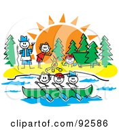 Royalty Free RF Clipart Illustration Of A Stick Guide And Children Rowing And Making A Fire At A Camp Ground by Andy Nortnik