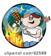 Royalty Free RF Clipart Illustration Of A Brunette Girl Holding Chocolate And Roasting A Marshmallow By A Campfire