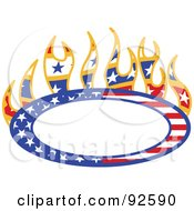 Royalty Free RF Clipart Illustration Of A Flaming Americana Oval With Copyspace