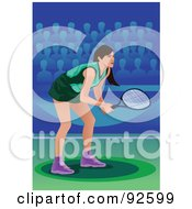 Royalty Free RF Clipart Illustration Of A Professional Olympic Female Tennis Player
