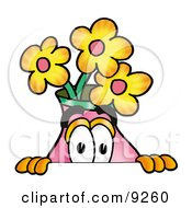Clipart Picture Of A Vase Of Flowers Mascot Cartoon Character Peeking Over A Surface