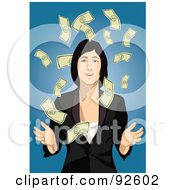 Royalty Free RF Clipart Illustration Of A Business Woman Surrounded By Falling Cash On Blue