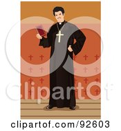 Royalty Free RF Clipart Illustration Of A Standing Monk
