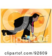 Royalty Free RF Clipart Illustration Of A Business Man Lined Up To Race 2 by mayawizard101