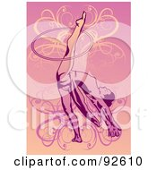 Royalty Free RF Clipart Illustration Of A Female Gymnast With A Hoop On Her Leg