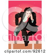 Royalty Free RF Clipart Illustration Of A Business Man Jumping Hurdles by mayawizard101