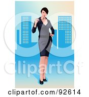 Royalty Free RF Clipart Illustration Of A Sexy Business Woman In A Dress Over A Blue Urban Background by mayawizard101