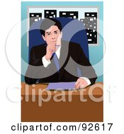 Royalty Free RF Clipart Illustration Of A Business Man In An Office 2