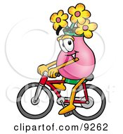 Clipart Picture Of A Vase Of Flowers Mascot Cartoon Character Riding A Bicycle