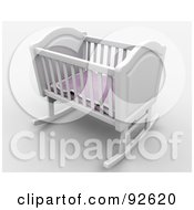 3d White Rocker Baby Crib With A Pink Blanket