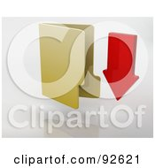 Royalty Free RF Clipart Illustration Of A 3d Red Arrow Pointing Down By A Yellow Folder by KJ Pargeter