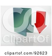 Royalty Free RF Clipart Illustration Of A 3d Red Arrow Pointing Down By A Green Folder