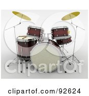 Royalty Free RF Clipart Illustration Of A Brown And Golden 3d Drum Set