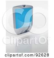 Royalty Free RF Clipart Illustration Of A 3d Silver Palm Pilot With A Blue Screen