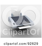 Royalty Free RF Clipart Illustration Of A 3d Personal Desktop Printer Over Gray