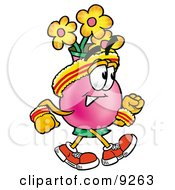 Clipart Picture Of A Vase Of Flowers Mascot Cartoon Character Speed Walking Or Jogging