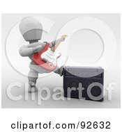Royalty Free RF Clipart Illustration Of A 3d White Character Playing A Guitar By A Speaker by KJ Pargeter