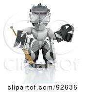 3d White Character Hockey Goalie In Black And White Padding