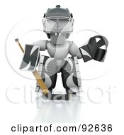 Royalty Free RF Clipart Illustration Of A 3d White Character Hockey Goalie In Black And White Padding