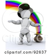 3d White Character With A Pot Of Gold At The End Of A Rainbow
