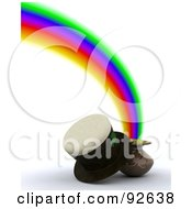 Royalty Free RF Clipart Illustration Of A 3d Hat With A Pot Of Gold At The End Of A Rainbow by KJ Pargeter