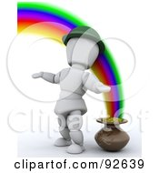 3d White Character Standing By A Pot Of Gold At The End Of A Rainbow