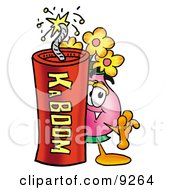Vase Of Flowers Mascot Cartoon Character Standing With A Lit Stick Of Dynamite