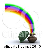 Green 3d Hat With A Pot Of Gold At The End Of A Rainbow