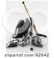 Royalty Free RF Clipart Illustration Of A 3d Black White And Wooden Ice Hockey Gear