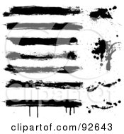 Royalty Free RF Clipart Illustration Of A Digital Collage Of Grungy Black Bars And Splatters On White