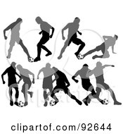 Royalty Free RF Clipart Illustration Of A Digital Collage Of Soccor Opponents Playing Soccer
