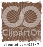 Royalty Free RF Clipart Illustration Of A Grungy Brown Burst Background With Halftone Rays And White Edges by KJ Pargeter
