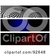 Royalty Free RF Clipart Illustration Of A Digital Collage Of White Blue And Red Halftone Website Headers by KJ Pargeter