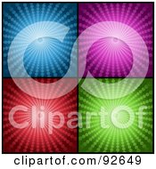 Royalty Free RF Clipart Illustration Of A Digital Collage Of Four Blue Purple Red And Green Halftone Vortex Backgrounds by KJ Pargeter