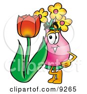Vase Of Flowers Mascot Cartoon Character With A Red Tulip Flower In The Spring