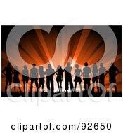 Royalty Free RF Clipart Illustration Of A Large Silhouetted Group Of Young People Against Red Lights
