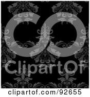 Royalty Free RF Clipart Illustration Of A Gray And Black Seamless Damask Floral Background by KJ Pargeter