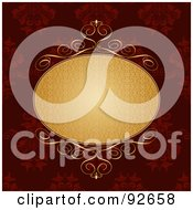 Royalty Free RF Clipart Illustration Of A Golden Text Oval On A Red Floral Background by KJ Pargeter