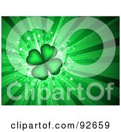 Royalty Free RF Clipart Illustration Of A Green Four Leaf Clover Background by KJ Pargeter