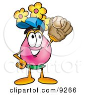 Vase Of Flowers Mascot Cartoon Character Catching A Baseball With A Glove