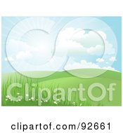 Royalty Free RF Clipart Illustration Of A Green Hilly Landscape With Wild Daisies And The Sun Shining In The Sky by KJ Pargeter