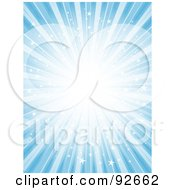 Royalty Free RF Clipart Illustration Of A Background Of Bright Starry Bursting Light Over Blue